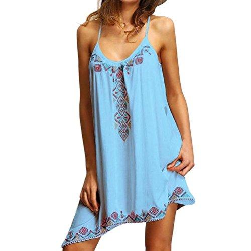 - Women Summer Boho Sleeveless Camis Halter Neck Irregular Hem Loose Strap Mini Dress (Sky Blue, Size:2XL)