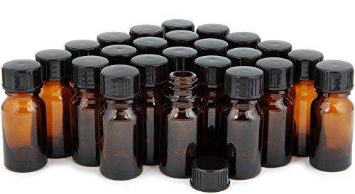 Vivaplex, 24, Amber, 10 ml (1/3 oz) Glass Bottles, with Lids ()