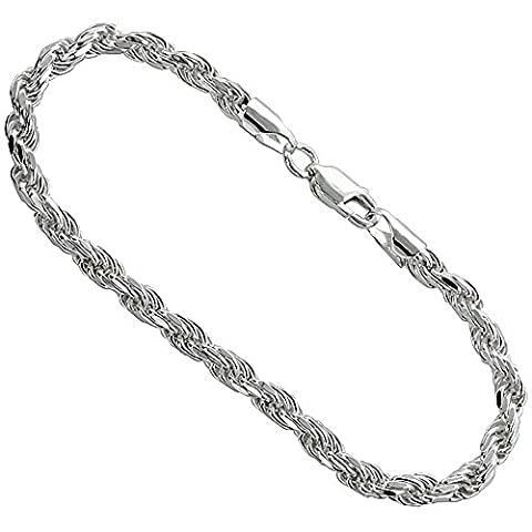 Sterling Silver Thick Rope Chain Bracelet 4.5mm Diamond cut Nickel Free Italy, 9 inch (5mm Sterling Silver Rope)
