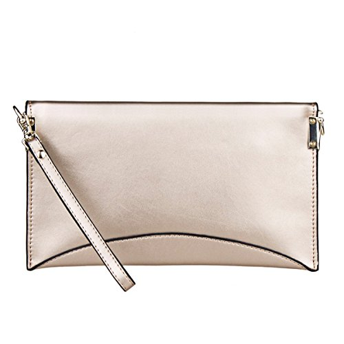 Bag Genuine Women's ZONE Light Leather Shoulder Wristlet Evening Clutches S Handbag Envelope Gold ZqBgAw