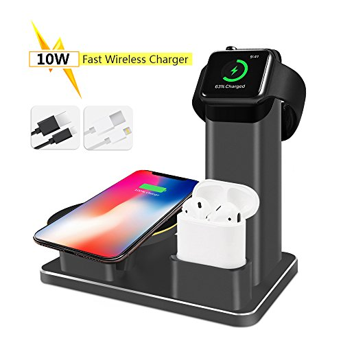 SHARKSBox 10W Fast Wireless Charger Stand, Charging Station Compatible Apple Watch Aluminum 3 in 1 Charging Dock Compatible Apple Watch Series 3/2/1, AirPods, iPhone X/Xs/Xs Max/8/8 Plus-Black