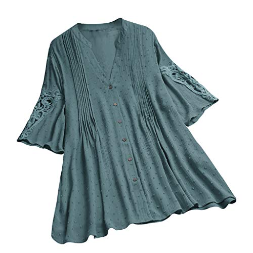 (DAYPLAY Womens Tops Plus Size Vintage Lace Button Short Sleeve Tee Shirts Tunic Loose Ladies T Shirt Blouses Clothes Sale Green)