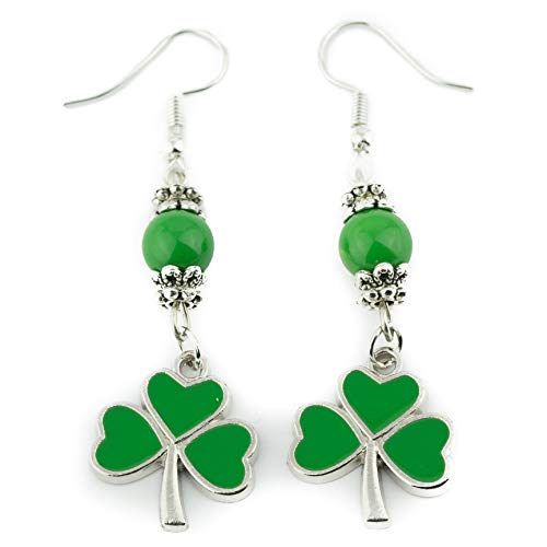 Soul Statement Shamrock Dangle Earrings for Women St Patrick Day Accessories (Green Clover Dangles)