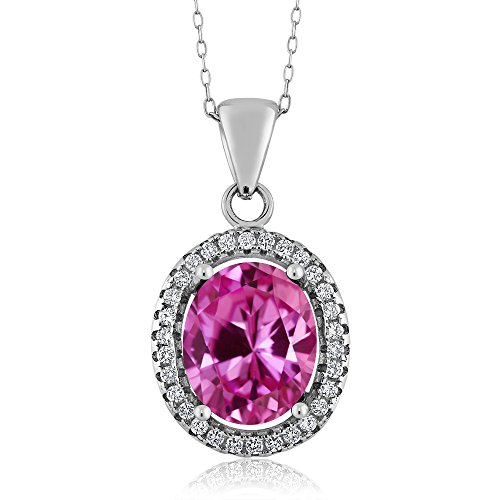 4.90 Ct Oval Pink Created Sapphire 925 Sterling Silver Pendant