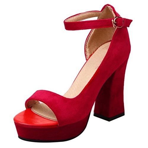 COOLCEPT Mujer Moda Correa de Tobillo Sandalias Tacon Alto Ancho D'orsay Peep Toe Plataforma Zapatos Rojo
