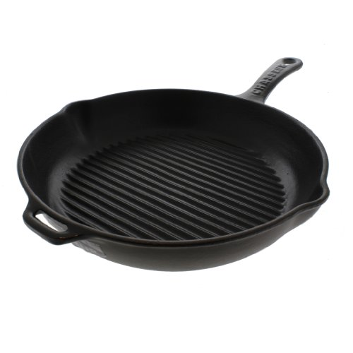 Chasseur 10-inch Black Round French Enameled Cast Iron Grill Pan by Chasseur