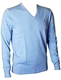 Men's Pima Cotton V Neck Long Sleeve Sweater