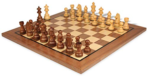 German Knight Staunton Chess Set Acacia & Boxwood Pieces with Molded Walnut Chess Board - 3.75