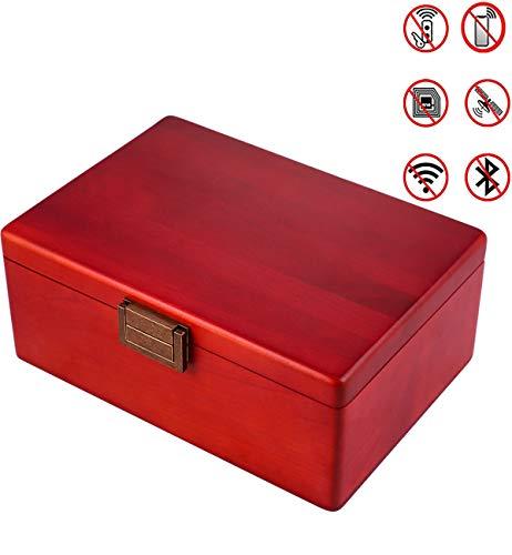 MONOJOY Phone Signal Large Blocker Box Faraday Cage for Car Keys and Cell Phones Birch Wood Keyless Entry Blocking Box, Vehicle Fob Anti-Theft Red Box Blocking WiFi 4G Bluetooth RFID RF