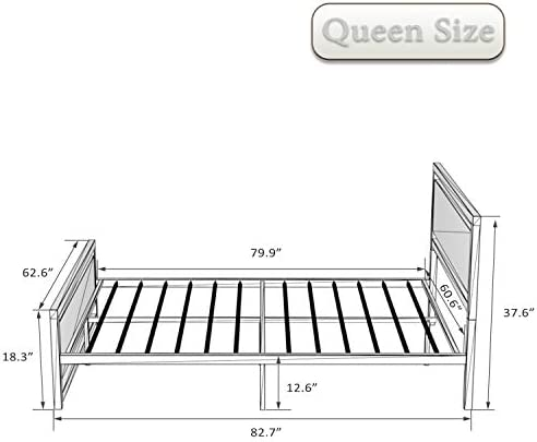 Amolife Queen Bed Frame with Headboard,Platform Metal Bed Frame with Footboard,Mattress Foundation,Strong Slat Support,No Box Spring Needed