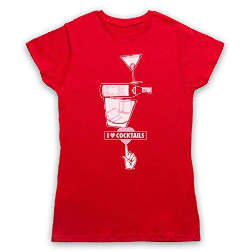 I Love Cocktails Slogan Style Camiseta para Mujer Rojo
