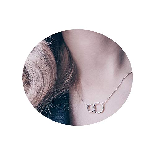 Mother Daughter Necklace 925 Sterling Silver Hammered Two Interlocking Infinity Double Circles Necklace ()