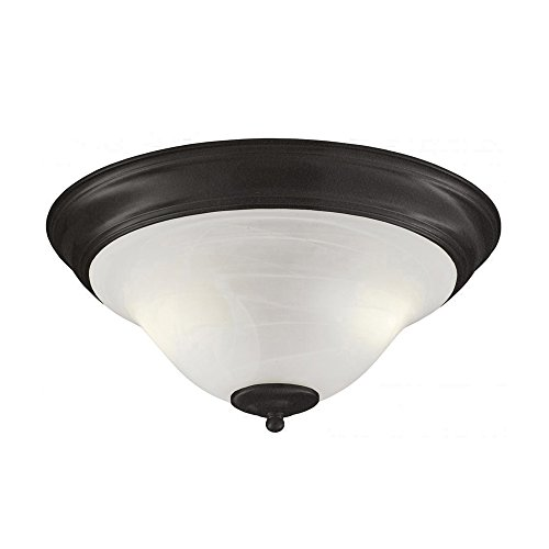 - Transglobe Lighting PL-10002 AGB Flush Mount with Marbleized Glass Shades, Antique Bronze Finish