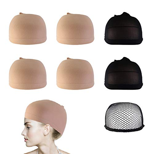PIXNOR 7 Pack Wig Caps, Neutral Nude Beige and Black Mesh, Nylon Wig Cap for Women and Men