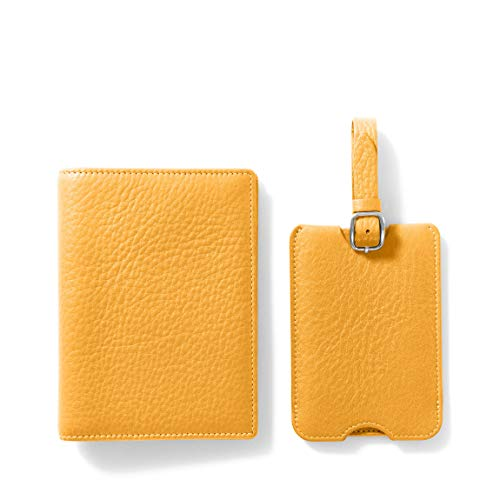 Deluxe Passport Cover + Luggage Tag Set - Full Grain Leather Leather - Turmeric (yellow)