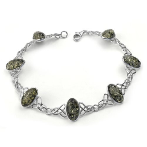 Sterling Silver Green Amber Celtic Bracelet 8 Inches