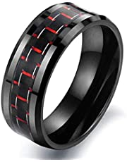 8mm Fashion Black Ceramic Classic Carbon Fiber Geometrical Men Wide Band Ring Red 11US