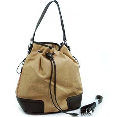 Dasein Designer Inspired Soft 2-tone Drawstring Hobo Bag Handbag -Beige/ Dark Brown