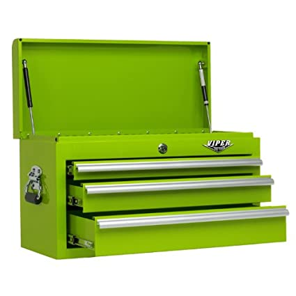 Viper Tool Storage LB2603C 26 Inch 3 Drawer 18G Steel Top Chest, Lime