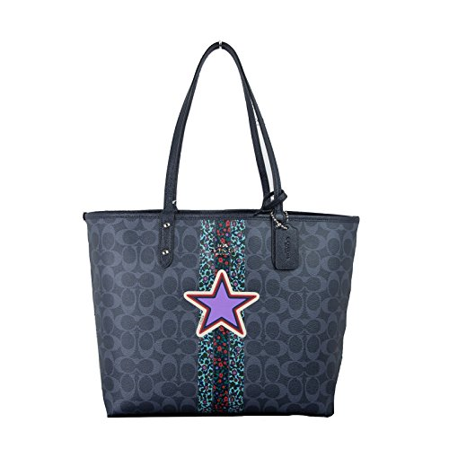 Coach F36609 Reversible PVC City Signature Tote (Denim Multi Midnight) by Coach
