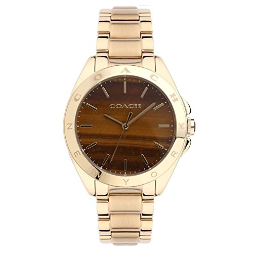 Coach Womens 14502053 Tristen Gold Tone Tiger Eye Dial Watch