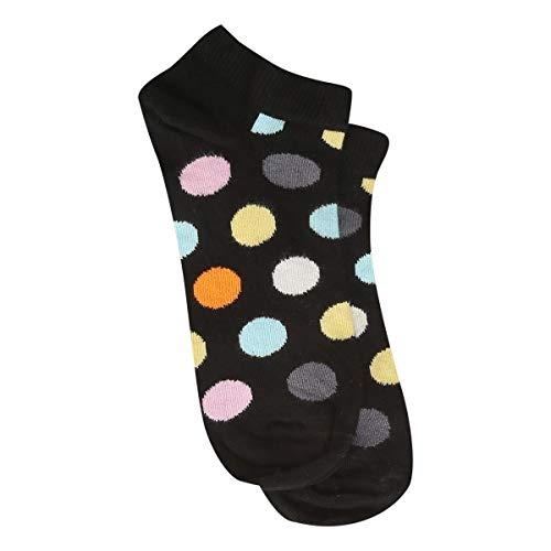 Meia Soquete Happy Socks Big Dot Feminina - Preto+Azul - 34-38