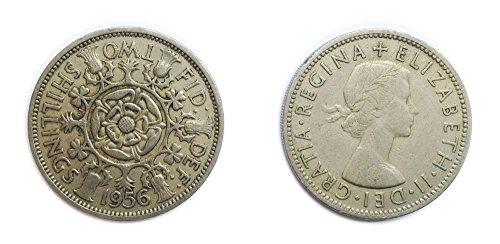 Coins for collectors - Circulated British 1956 Florin / Two Bob Bit / 2 Shillings Coin / Great Britain
