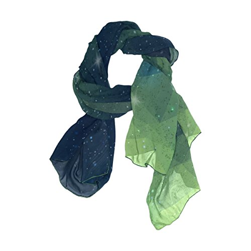 Senya Women's Fashion Large Long Sheer Silk Scarf Shawl Wrap, Geometry Galaxy](Silk Triangle Head Scarf)