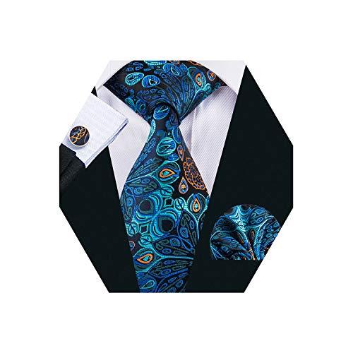 (YOHOWA Blue Silk Tie Pocket Square Cufflinks Set Mens Paisley Tie Set )