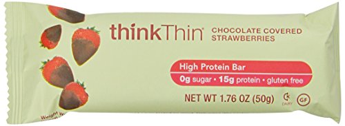 ThinkThin High Protein Bar, Chocolate Covered Strawberries, 10 Count
