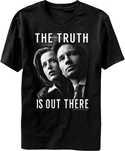X-Files The Truth Is Out There Mulder And Scully Men's Black T-Shirt (L) (Scully Costume)