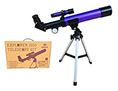 66mm Refractor Telescope Custom bright purple metallic telescope kit puts the moon and terrestrial objects within reach! Perfect for kids or beginners. Kit has telescope, table-top tripod, activity guide, glow in the dark solar stickers, coat...