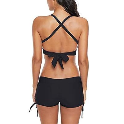 Bikini Swimsuit for Women Two Piece Swimsuits Halter Bikini Set with Boyshort Athletic Bathing Suit: Clothing