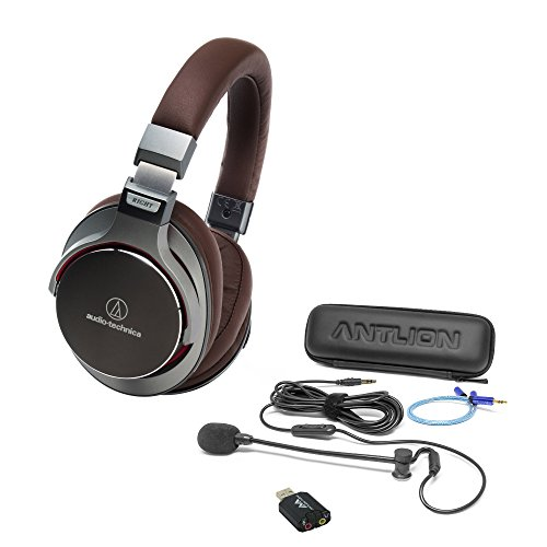 Audio-Technica ATH-MSR7GM SonicPro Over-Ear Hi-Res Headphones, Gunmetal -Includes- Antlion Audio ModMic 4 Attachable Boom Mic - Cardioid w/Mute Switch, USB Adapter and Blucoil Y Splitter