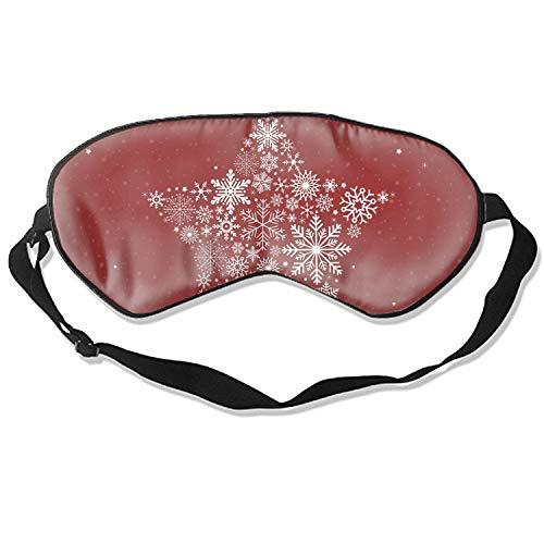 3D Sleep Mask,Holiday Stars Snow Red Eye Mask Custom Funny Design, Super Smooth Memory Foam, Maximum Light Blocking & Adjustable Strap -