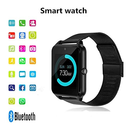 Onbio Smart Bluetooth Watch with LED Display/Dial / SMS Reminding/Music Player Wearable Devices for Apple iPhone iOS Android Mobile Phone (Black)