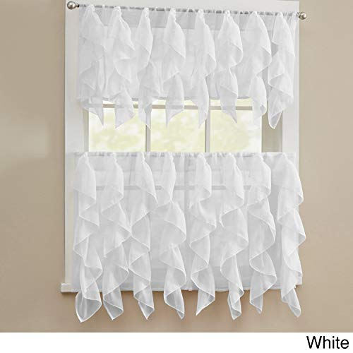 bed bath n more Chic Sheer Voile Vertical Ruffled Tier Window Curtain Valance or Tier White 56 x 24 -