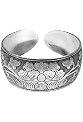 Miao Silver Cuff Bracelet Wide - Graceful Lotus Flower with Vines