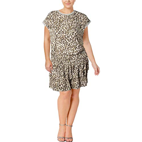 - Juicy Couture Black Label Womens Leopard Print Mini Casual Dress Ivory XL