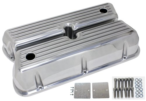 - 1962-85 Ford Small Block 289-302-351W-5.0L Tall Polished Aluminum Valve Covers - Full Finned