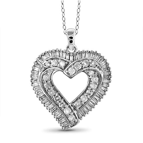 JewelExcess 1 Carat T.W. White Diamond Sterling Silver Overlaping Heart Pendant
