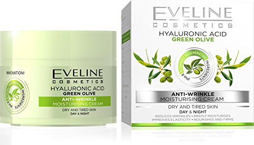 Eveline Cosmetics Nature Line 3D Green Olive Anti-Wrinkle Moisturising Cream Intensely Firming Rejuvenating Day And Night Cream, Reducing Wrinkles, Fine Lines, Age Spots For Dry And Tired Skin