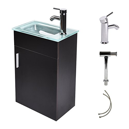 16 Inches Bathroom Vanity, Modern Lavatory Wall-Mounted Vanity Set in Black, Frosted Tempered Glass Vanity Top Counter Top Sink, with Single Faucet Hole - Wide Base Single Hole Faucet
