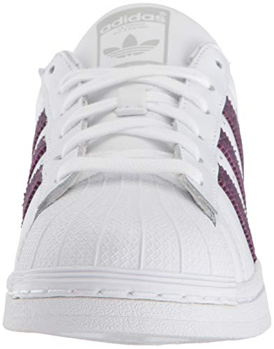 adidas Originals Women's Superstar Shoes Running, White/red Night/Silver Metallic, 10 M US