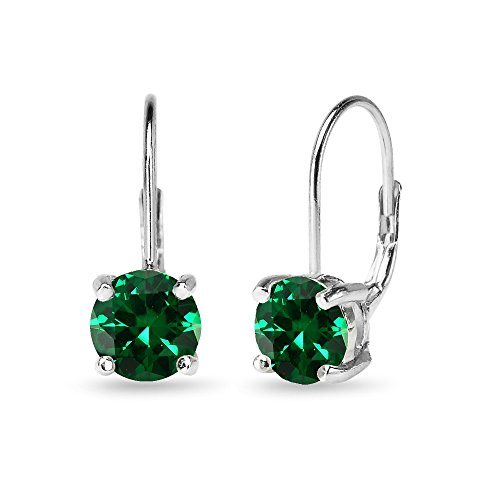 Sterling Silver Polished Simulated Emerald 7mm Round Dainty Leverback Earrings 7mm May Birthstone Earrings