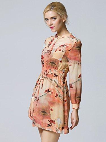 Cotylédons 2018 Nouvelles Robes Imprimées Costume Robe De Plage De Cou De Pied À Manches Longues De Couleur Rouge Vif Pour Printemps Été