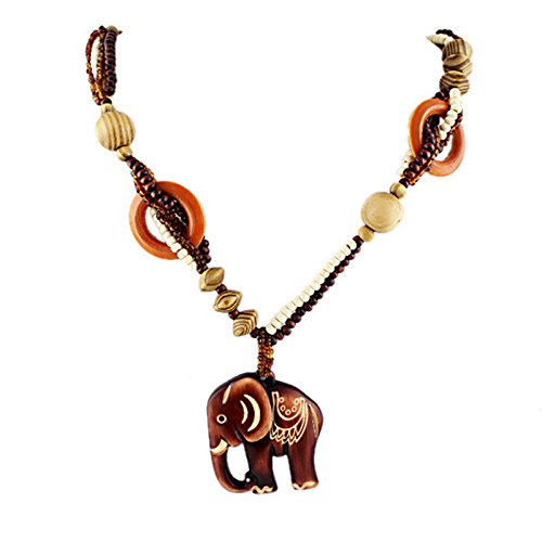 Boho Ethnic Beach Jewelry Handmade Beads Wood Elephant Pedant Necklace
