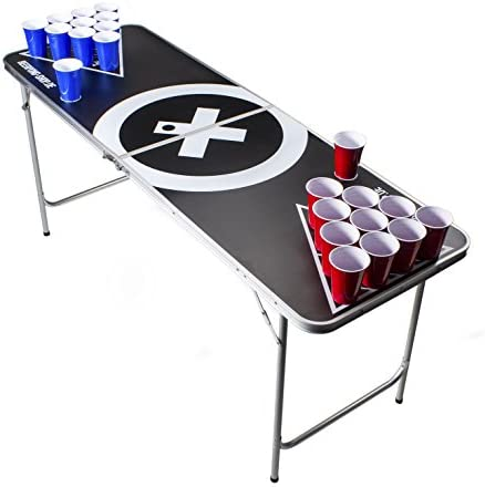 Beer Pong Tisch Set Audio Table Design 6 ft Beer Pong Table inkl. 6 Bälle, 50 Red Beer Cups und Regelwerk