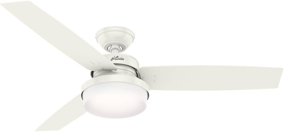 Hunter Indoor Ceiling Fan with LED Light and remote control – Sentinel 52 inch, White, 59169