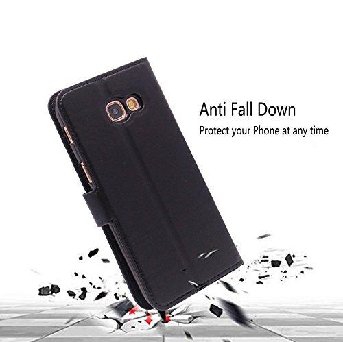 Magnetverschluss Slot und Brieftasche Funktion/-/Schwarz FANSONG Galaxy A5/ 2017 Fall PU Leder Wallet Flip Cover mit integriertem St/änder